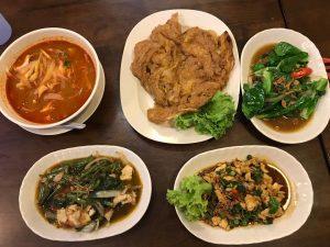 Tomyam Ayam, Telur Dadar, Kailan Ikan Masin, Kangkung Belacan and Ayam Pad Krapow