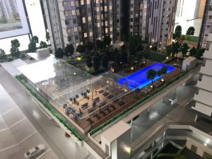 embayu damansara west scale model - swimming pool and planned block C