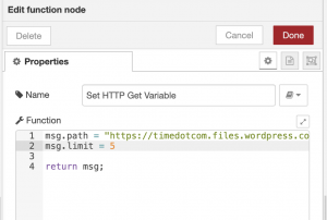 node red function node set get http request parameters