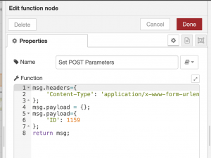 node red - function node setting post parameters for http request