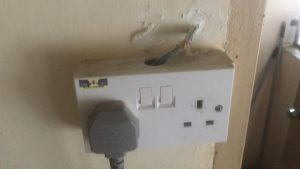 wires burnt due to overload - it is used for fridge and air fryer using 0.75mm wires
