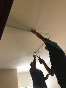 casing installation and ceiling fan hook