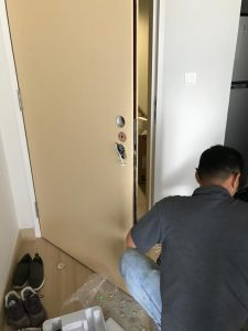 preparing the door to install smart lock