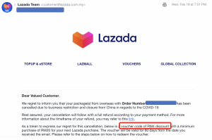 lazada email cancellation with discount voucher