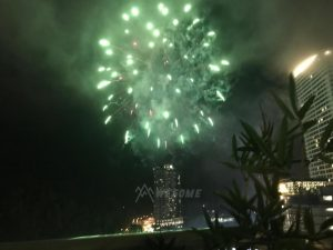view fireworks during festive season from the balcony
