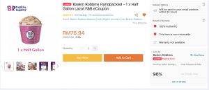 Baskin Robbins Half Gallon 31% discount
