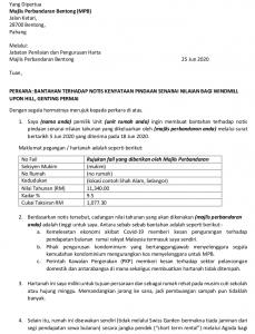 contoh surat bantahan cukai taksiran majlis perbandaran