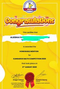 kangaroo math result Y2020 honorable mention aliesha