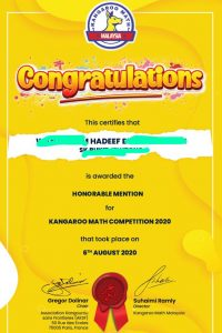 kangaroo math result Y2020 honorable mention hadeef