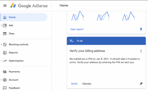 google adsense verify address