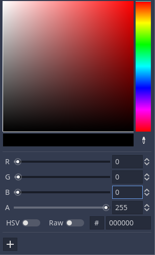 godot grid movement - change color to black where RGB 000000