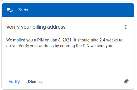 google adsense - verify billing address